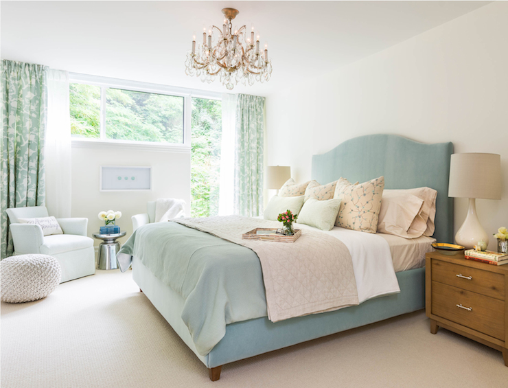 Duck egg blue bed transitional bedroom rebecca hay for Duck egg bedroom ideas