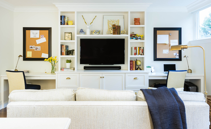 Built In Desks Transitional Living Room Rebecca Hay Interior - Built in media center designs