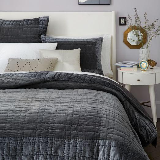 Bordered Grey Velvet Quilt And Shams