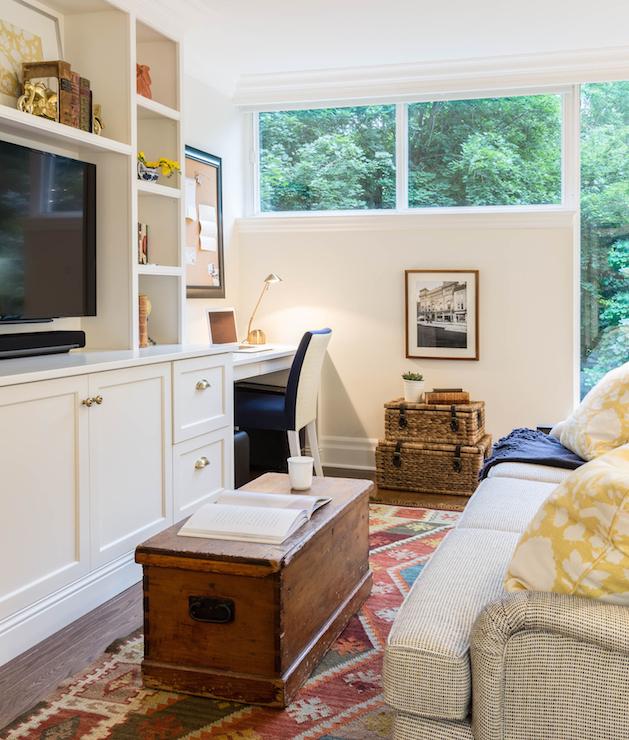 Black tv cabinets eclectic media room reath design - Living room desk ...