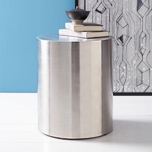 metal drum silver side table