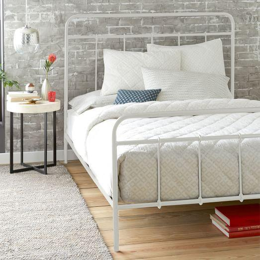 imogene metal white bed view full size - White Iron Bed Frame Queen
