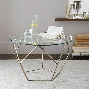 Origami Side Table, Glass/Antique Brass I West Elm