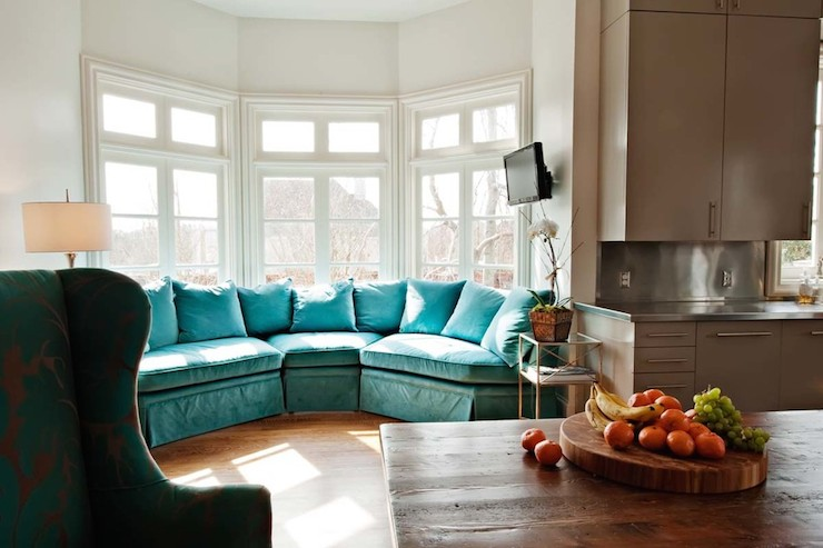 Turquoise Sectional Sofa - Eclectic - kitchen - The Wills Company