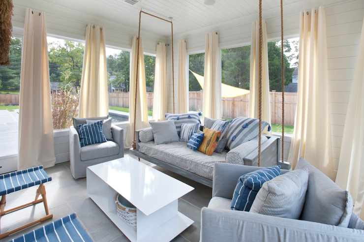 Hanging Sofa Transitional Deck Patio Blue Water Home