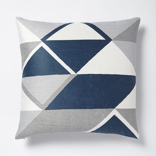 velvet diamonds blue and grey pillow cover