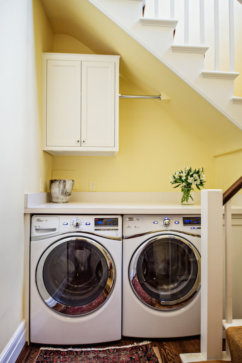 Washer dryer under shelves design ideas for Under cabinet washer and dryer