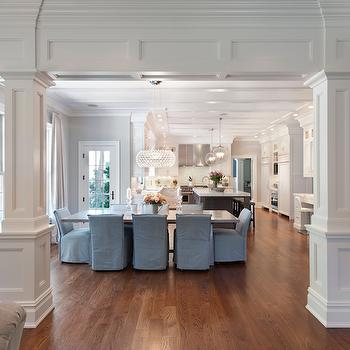 Interior Columns, Transitional, Dining Room, Blue Water Home Builders
