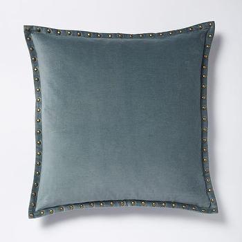 Studded Velvet Pillow Cover, Blue Stone I West Elm