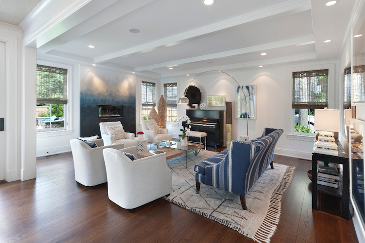 White Sofa with Gray Chairs Transitional Living Room