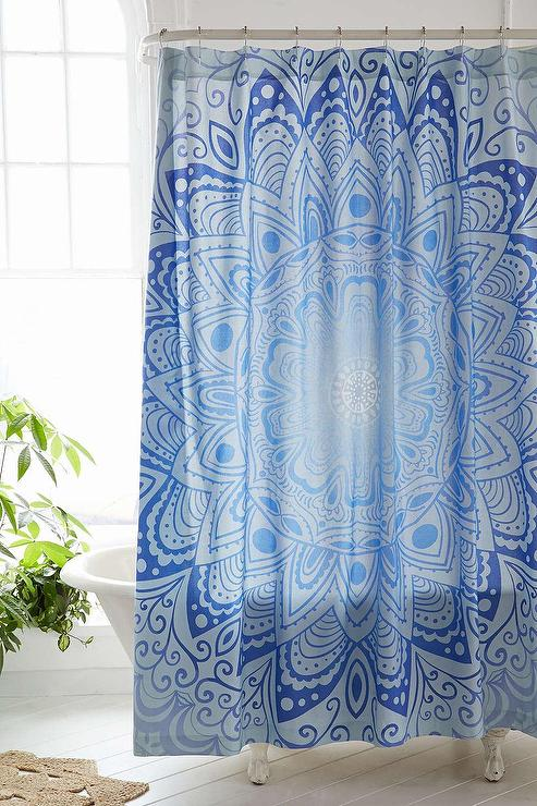 Magical Thinking Cosmic Medallion Blue Shower Curtain