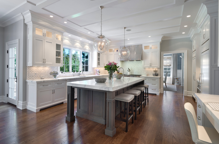 White Kitchen Cabinets with Gray Kitchen Island, Transitional, Kitchen