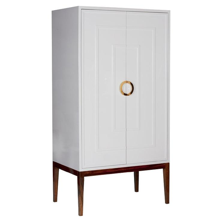 Worlds Away Miles White Lacquer And Brass Armoire