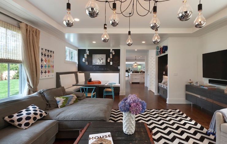Black And White Herringbone Rug Contemporary Living