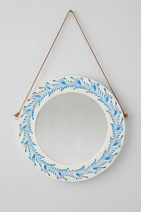 plum and bow wooden floral painted blue and white mirror