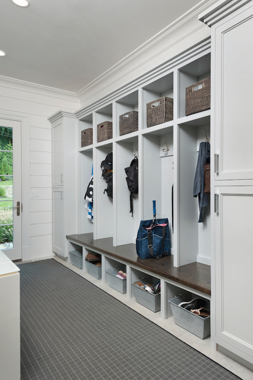 open mudroom lockers transitional laundry room blue