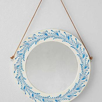 Plum & Bow Wooden Floral Painted Mirror I Urban Outfitters