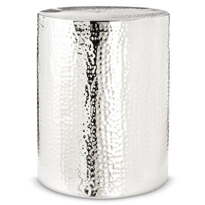 Threshold Hammered Silver Drum Accent Table - Hammered silver side table