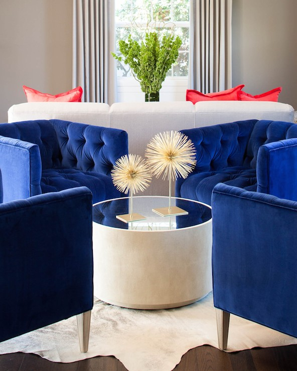 living rooms - royal blue velvet chairs
