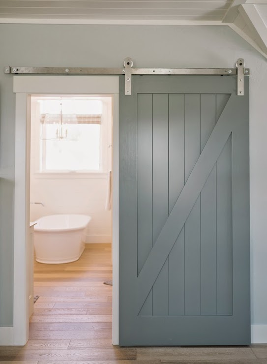 Bathroom with barn door transitional bathroom 4 for Barn door designs