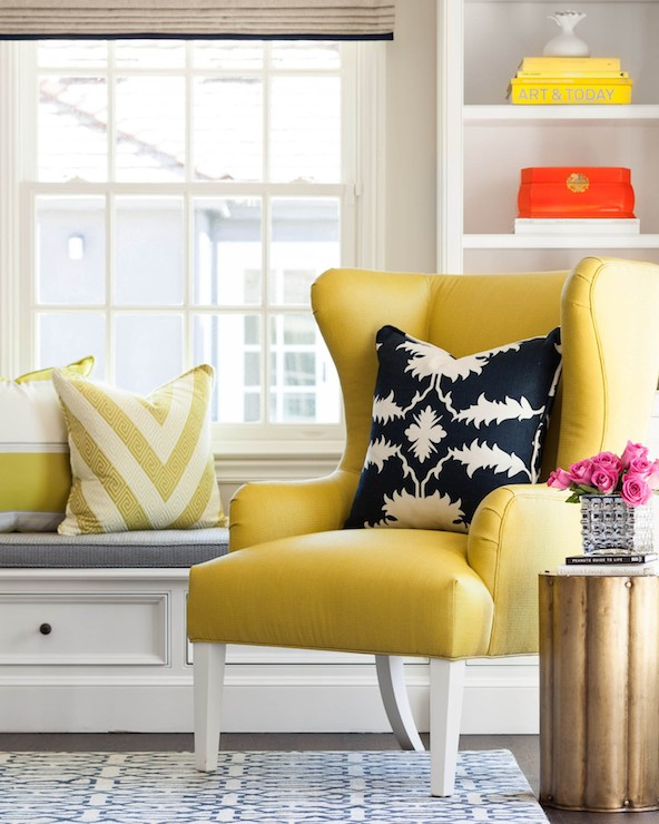 Yellow wingback chair contemporary living room for Living room ideas mustard