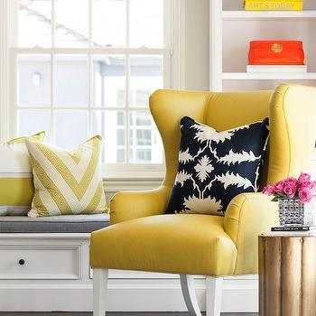 Yellow Wingback Chair, Contemporary, living room, Martha O'Hara Interiors