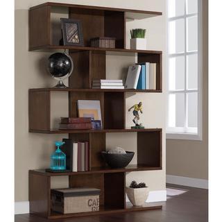 68 Inch Solid Birch Veneer Brown Bookshelf