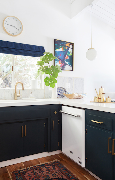 Navy Kitchen Cabinets Eclectic Kitchen Farrow And