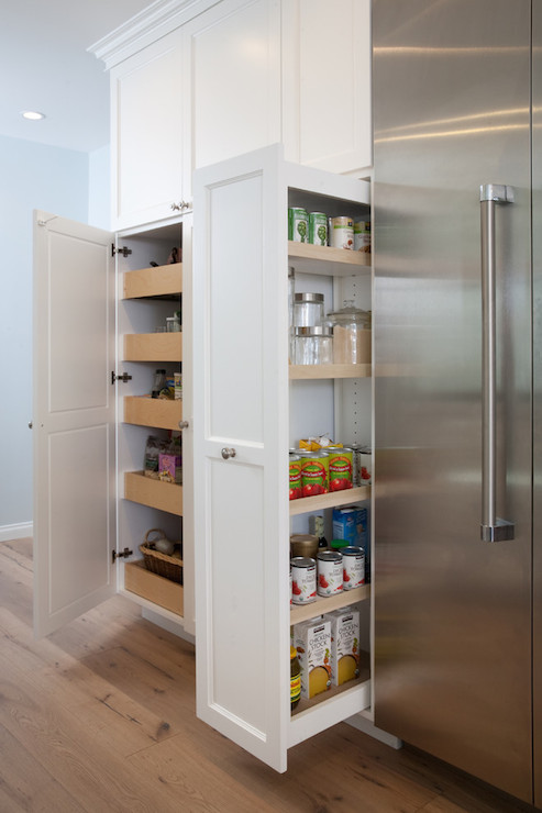Pull out pantry cabinets transitional kitchen lauren - Roll out shelving for pantry ...