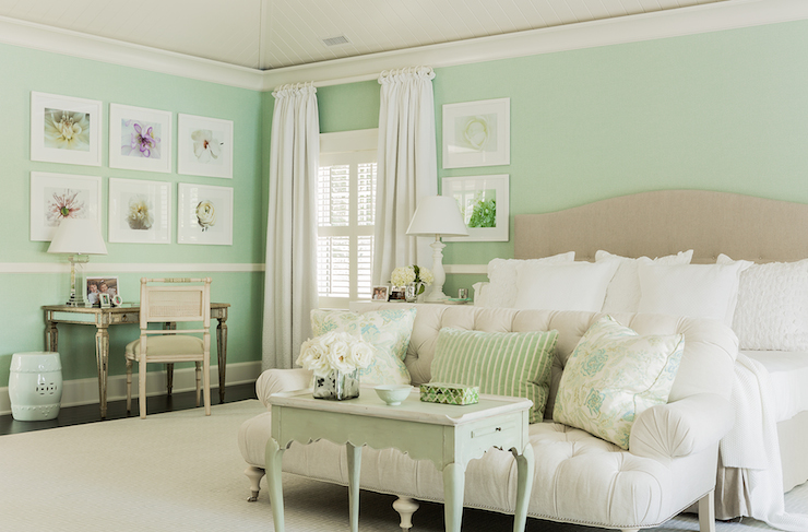 Mint green bedrooms cottage bedroom brookes and hill for Mint green bedroom ideas