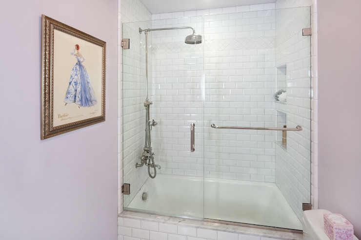 Shower with Beveled Subway Tiles. Shower with Beveled Subway Tiles   Transitional   bathroom