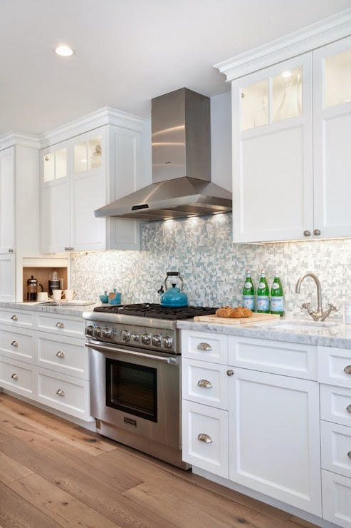 Blue Mosaic Tile Backsplash Contemporary Kitchen