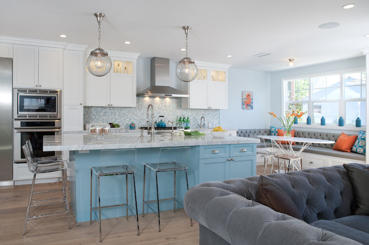 Turquoise Kitchen Island Contemporary Kitchen