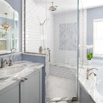 Corner Shower Ideas, Transitional, bathroom, Lauren Shadid Architecture