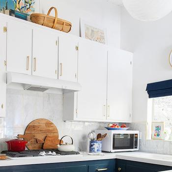 Navy Blue Kitchen Cabinets, Eclectic, kitchen, Farrow and Ball Hague Blue, Emily Henderson