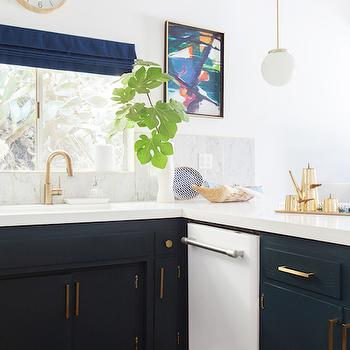 Navy Kitchen Cabinets, Eclectic, kitchen, Farrow and Ball Hague Blue, Emily Henderson