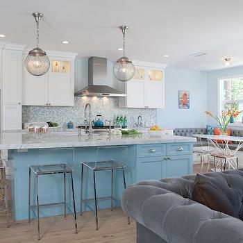 Turquoise Kitchen Island, Contemporary, kitchen, Benjamin Moore Lookout Point, Lauren Shadid Architecture