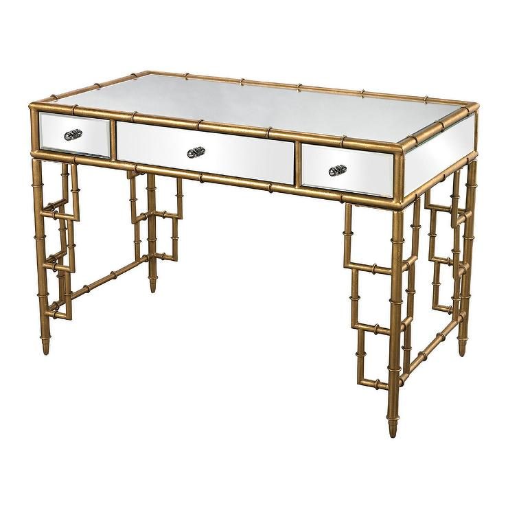 Gold Sterling Industries Mirror Top Desk With Bamboo Frame
