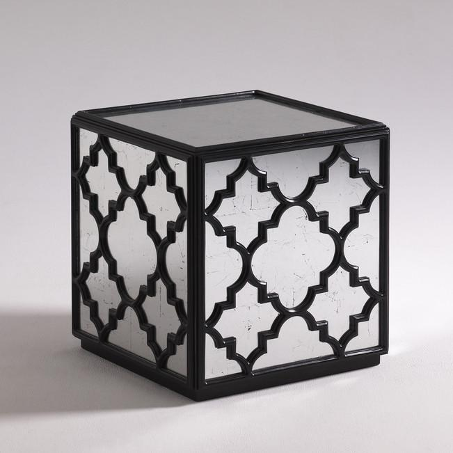 Moore Councill Black End Table - Mirrored cube end table