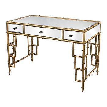 Sterling Industries Mirror Top Desk With Bamboo Frame I AllModern