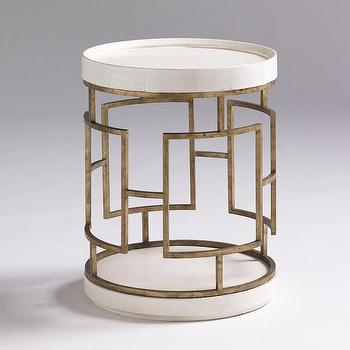 Moore Councill Round White Gold End Table