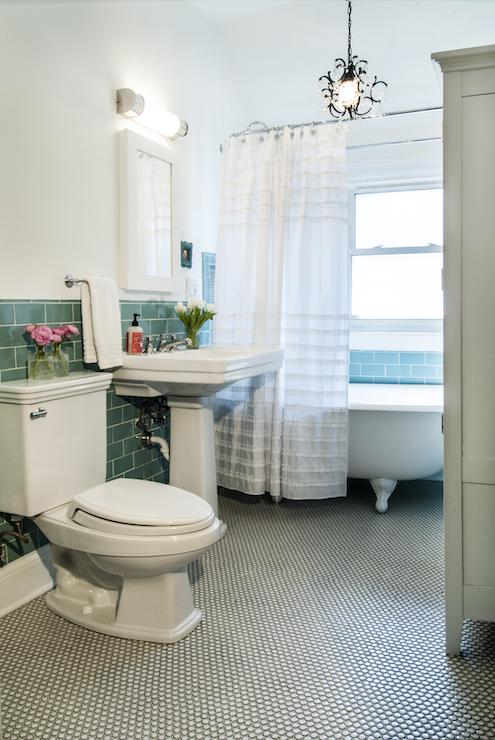 Teal Subway Tiles Transitional Bathroom Studio M