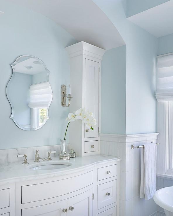 Master bathroom tub transitional bathroom lewis and for Light blue and white bathroom ideas
