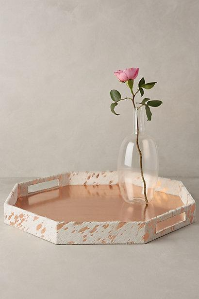 Wood And Resin White Geometric Pattern Hexagon Tray