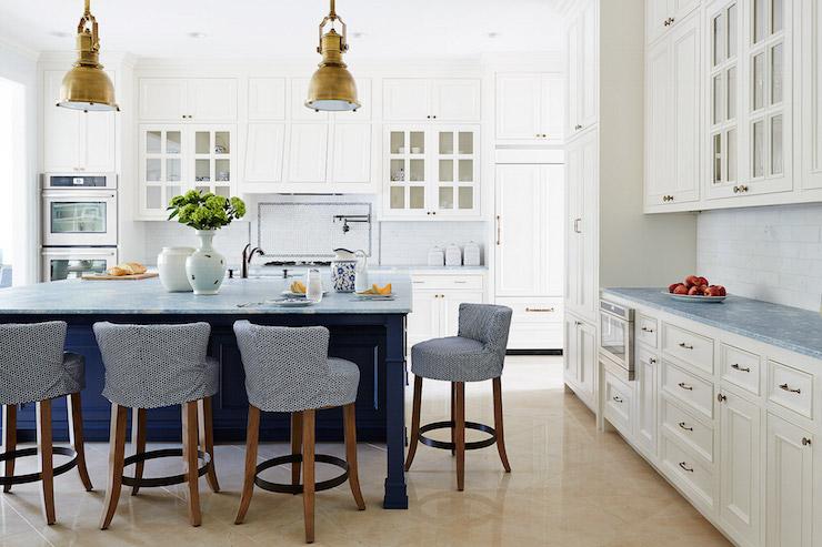 Navy Blue Kitchen Island Cottage Kitchen Andrew
