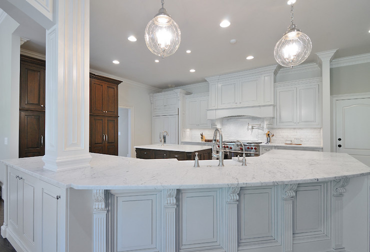 Honed Carrera Marble Countertops Transitional Kitchen