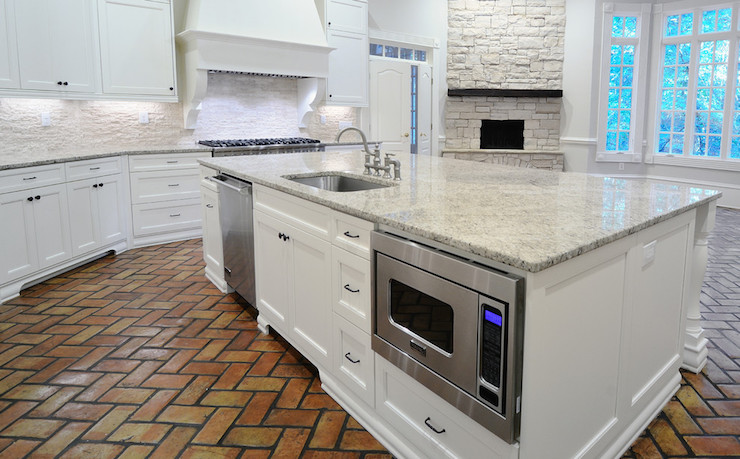 Giallo Ornamental Granite Transitional Kitchen Cr