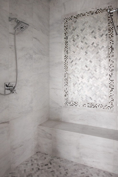 Open Shower With Marble Herringbone Shower Floor