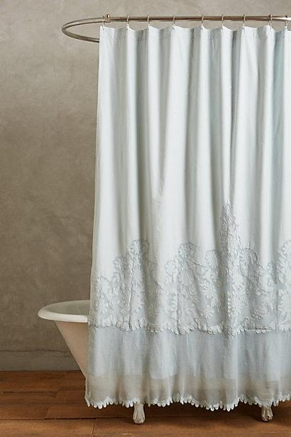 Awesome Sissonne Pale Blue Lace Shower Curtain