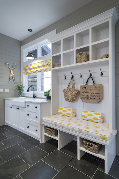 black slate tiles transitional laundry room ttm